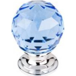 "Top Knobs TK123 Crystal 1 1/8"" Brass Round Shaped Blue Crystal Cabinet Knob"