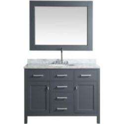 "Design Element DEC076C-G London Stanmark 48"" Freestanding Single Sink Bathroom Vanity Set in Country Gray"