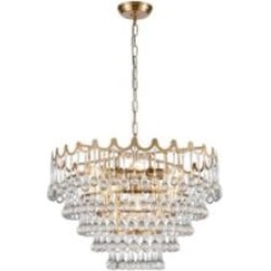 """ELK Home D4152 Juice 5 Light 23"""" Incandescent Clear Crystal Three Tier Chandelier in Aged Brass"""