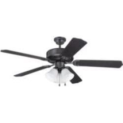 "Craftmade K11113 Pro Builder 205 5 Blades 52"" Indoor Ceiling Fan with Incandescent Light Kit in Flat Black"