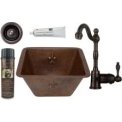 """Premier Copper Products BSP4-BS15FDB2-B 15"""" Square Fleur De Lis Copper Bar/Prep Sink with Single Handle Bar Faucet 2"""" Strainer D"""