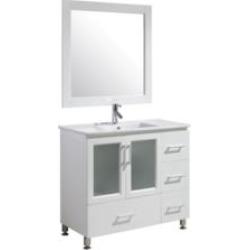 "Design Element B40-DS-W Stanton 40"" Freestanding Single Sink Bathroom Vanity Set in White"