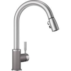 Blanco 442070 Sonoma 2.2 GPM Single Handle Kitchen Faucet with Pulldown Spray in Metallic Gray/Stainless Steel found on Bargain Bro India from Decor Planet for $292.50