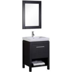 "Design Element DEC091A New York 24"" Freestanding Single Sink Bathroom Vanity Set in Espresso"