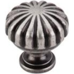 """Top Knobs M1596 Somerset II 1 1/4"""" Brass Mushroom Shaped Melon Cabinet Knob in Pewter Antique"""