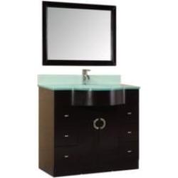 "Design Element DEC061 Designer's Pick Aria 40"" Freestanding Single Sink Bathroom Vanity Set in Espresso"