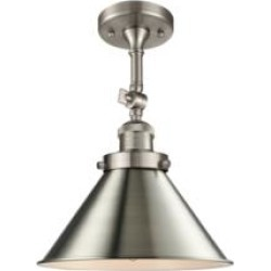 "Innovations Lighting 201F Innovations Lighting Briarcliff 10"" One Light Metal Shade Semi-Flush Mounted LED or Incandescent Bulb"
