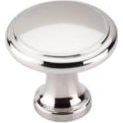 "Top Knobs M1317 Asbury 1 1/8"" Zinc Alloy Mushroom Shaped Ringed Cabinet Knob in Polished Nickel"