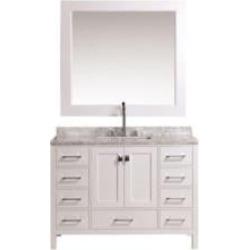 "Design Element DEC082C-W London Hyde 48"" Freestanding Single Sink Bathroom Vanity Set in White"
