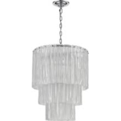 """ELK Home D4295 Diplomat 14 Light 21"""" Incandescent Clear Glass Three Tier Chandelier in Chrome"""