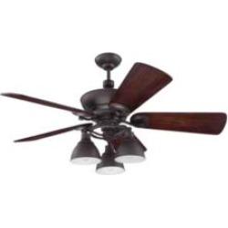 "Craftmade K11066 Timarron 5 Blades 54"" Indoor Ceiling Fan with Incandescent Light Kit in Hand-Scraped Walnut"