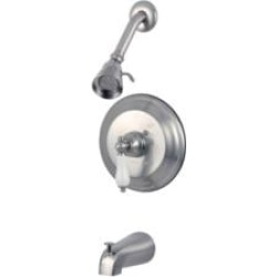 Kingston Brass KB363PLT Single Porcelain Handle Pressure Balanced Tub and Shower Faucet with Trim found on Bargain Bro Philippines from Decor Planet for $98.12