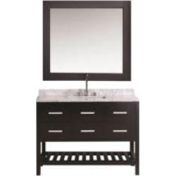 "Design Element DEC077H-E-WT London Cambridge 54"" Freestanding Single Sink Bathroom Vanity Set in Espresso"