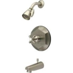 Kingston Brass KB4638TX Single Lever Handle Pressure Balanced Tub and Shower Faucet with Trim in Brushed Nickel found on Bargain Bro Philippines from Decor Planet for $341.87