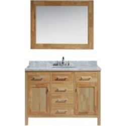 "Design Element DEC076C-O London Stanmark 48"" Freestanding Single Sink Bathroom Vanity Set in Honey Oak"