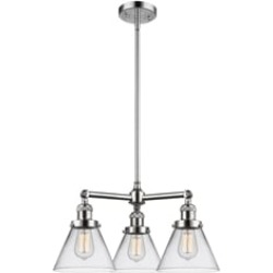 """Innovations Lighting 207-G42 Large Cone 22"""" Three Light Single Tier Clear Glass Chandelier with LED or Incandescent Bulb"""