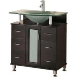 "Design Element DEC015A Huntington 30"" Freestanding Single Sink Bathroom Vanity with Top in Espresso"