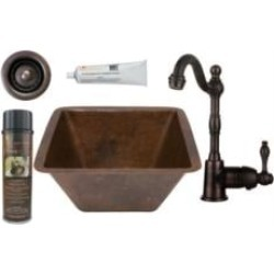 "Premier Copper Products BSP4-BS15DB2-B 15"" Square Hammered Copper Bar/Prep Sink with Single Handle Bar Faucet and 2"" Strainer Dr"
