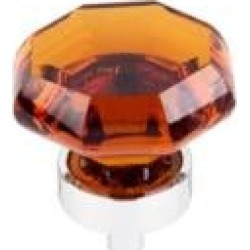 "Top Knobs TK138 Crystal 1 3/8"" Brass Geometric Shaped Wine Octagon Crystal Cabinet Knob"