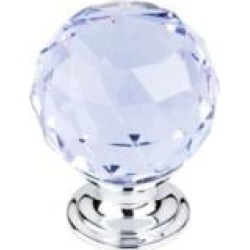 "Top Knobs TK114 Crystal 1 3/8"" Brass Round Shaped Light Blue Crystal Cabinet Knob"