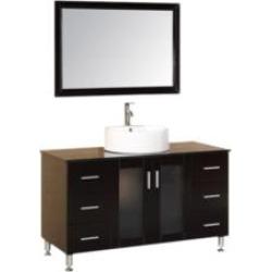 "Design Element DEC066C-E Malibu 48"" Freestanding Single Sink Bathroom Vanity Set in Espresso"