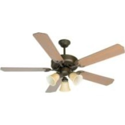 """Craftmade K10639 Pro Builder 206 5 Blades 52"""" Indoor Ceiling Fan with Incandescent Light Kit in Washed Walnut Birch"""