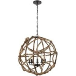 """ELK Home D3810 Wrapture 5 Light 21"""" LED One Tier Chandelier in Wood Tone/Oil Rubbed Bronze"""