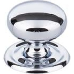 """Top Knobs M1890 Britannia 1 1/4"""" Brass Mushroom Shaped Victoria Cabinet Knob with Backplate in Polished Chrome"""
