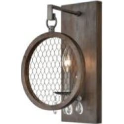 "ELK Home D4328 Renaissance Invention 1 Light 9"" Incandescent Wood Frame with Wire Shade Wall Sconce in Aged Wood"