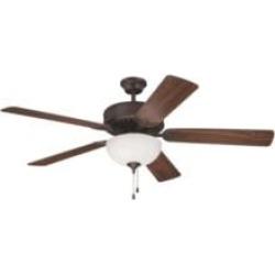 "Craftmade K11101 Pro Builder 201 5 Blades 52"" Indoor Ceiling Fan with Fluorescent Light Kit in Walnut"