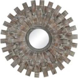 """Sterling 351-10552 Gulla Gulla 27 1/4"""" Fir Wood Framed Circular Wall Mirror in Salvaged Grey Oak"""