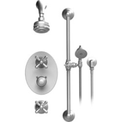 Rubinet 40FMC Flemish Temperature Control Shower with Aquatron 3 Function Shower Head, Bar, Integral Supply & Hand Held Shower