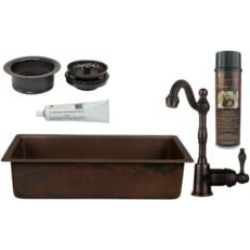 "Premier Copper Products BSP4-BREC28DB-G 28"" Rectangle Hammered Copper Bar/Prep Sink with 3 1/2"" Garbage Disposal Drain in Oil Ru"