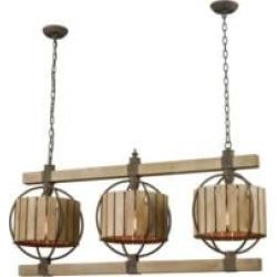 "ELK Home 3215-014 Triple Barrel 3 Light 39 3/8"" Incandescent One Tier Linear Chandelier in Wood Tone/Rust"