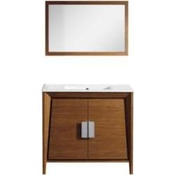 "Aquabrass ABCB15891WD Metriko 35 3/8"" Freestanding Single Bathroom Vanity Set in Tiger Wood"
