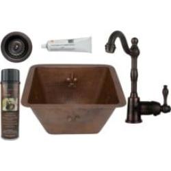 """Premier Copper Products BSP4-BS15FDB3-D 15"""" Square Fleur De Lis Copper Bar/Prep Sink with Single Handle Bar Faucet 3 1/2"""" Strain"""