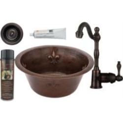 """Premier Copper Products BSP4-BR16FDB3-D 16"""" Round Copper Fleur De Lis Bar/Prep Sink with Single Handle Bar Faucet and 3 1/2"""" Str"""