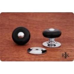 """RK International CK-314 1 1/4"""" Black Porcelain Cabinet Knob with Chrome Tip"""