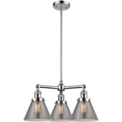 """Innovations Lighting 207-G43 Large Cone 22"""" Three Light Single Tier Smoked Glass Chandelier with LED or Incandescent Bulb"""