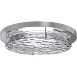 "Craftmade XV1411-BNK-LED 12 1/4"" 1 Light Round Textured Crackle Glass LED Flush Mount Ceiling Light in Brushed Polished Nickel"