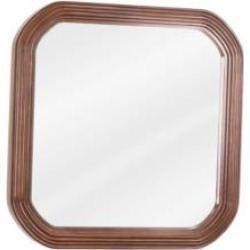 "Hardware Resources MIR025 Tesla 26"" Framed Wall Mount Square Bathroom Mirror in Walnut"
