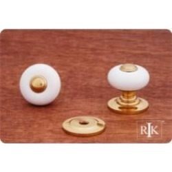 "RK International CK-320 1"" White Porcelain Cabinet Knob with Brass Tip"