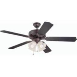 """Craftmade K11110 Pro Builder 204 5 Blades 52"""" Indoor Ceiling Fan with Fluorescent Light Kit in Oiled Bronze"""