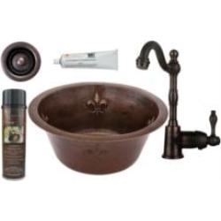 "Premier Copper Products BSP4-BR16FDB2-B 16"" Round Copper Fleur De Lis Bar/Prep Sink with Single Handle Bar Faucet and 2"" Straine"