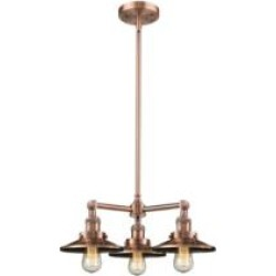 """Innovations Lighting 207-AC-M3 Railroad 19"""" Three Light Single Tier Chandelier in Antique Chrome with LED or Incandescent Bulb O"""