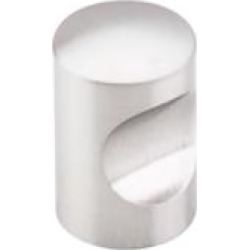 """Top Knobs SS20 Stainless 5/8"""" Steel Cylindrical Shaped Indent Cabinet Knob in Brushed Stainless Steel"""