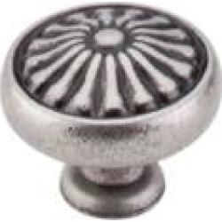 "Top Knobs M1598 Normandy 1 1/4"" Brass Mushroom Shaped Flower Cabinet Knob in Pewter Antique"