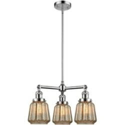 """Innovations Lighting 207-G146 Chatham 24"""" Three Light Single Tier Mercury Fluted Glass Chandelier with LED or Incandescent Bulb"""