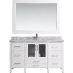 "Design Element B60-DS-W Stanton 60"" Freestanding Single Sink Bathroom Vanity Set in White"