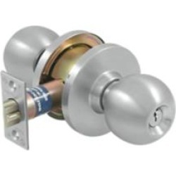 """Deltana CL109EAC-32D 3"""" Single Cylinder Round Shaped Keyed Entry Class Room Door Knob in Satin Stainless Steel"""